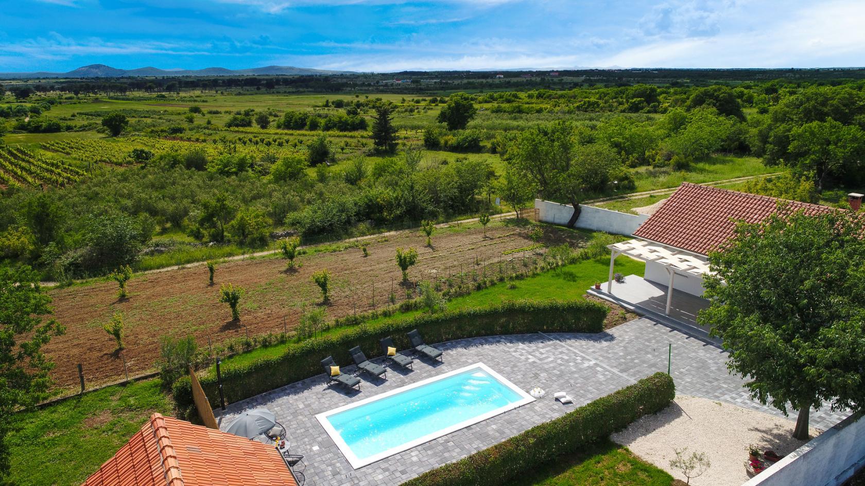 villa, andu, škabrnja, privacy, vineyards, olives, fields, zadar, croatia, www.zadarvillas.com